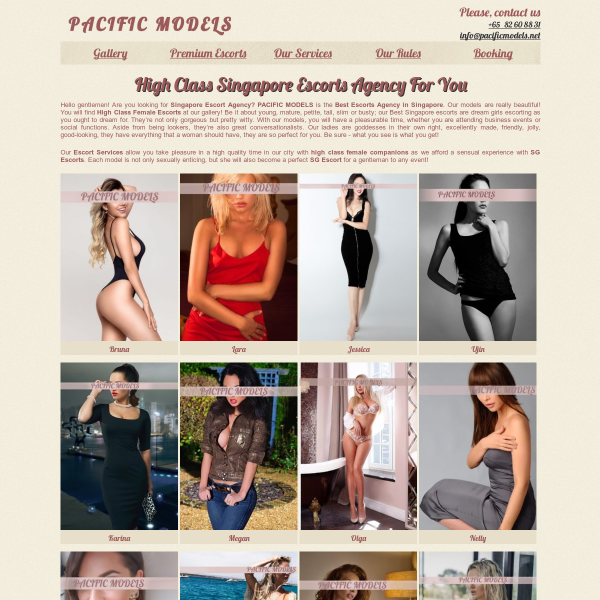 Details : PACIFIC MODELS – Singapore Escorts agency